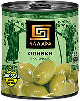 Зеленые оливки с косточкой, калибр Colossal 850 мл