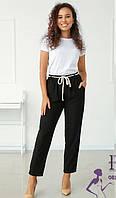 Легкие черные женские брюки с высокой посадкой   В 021/ 02, фото 1