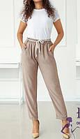 Легкие бежевые летние брюки с поясом  В 021/ 03, фото 1