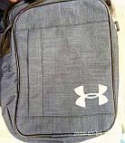 Сумка Текстиль мужская через плечо Барсетка Мессенджер. Серый, синий, фото 3
