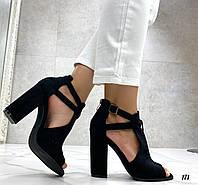 Босоножки женские черные на каблуке 10 см эко- замш, фото 1
