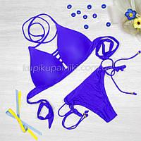 Купальник раздельный, уплотненная чашка с push up, слипы, синий 123-042
