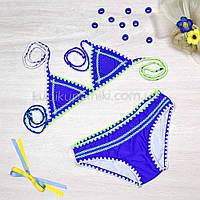 Купальник раздельный бикини яркий молодёжный Купальник синий электрик стильный 128-102