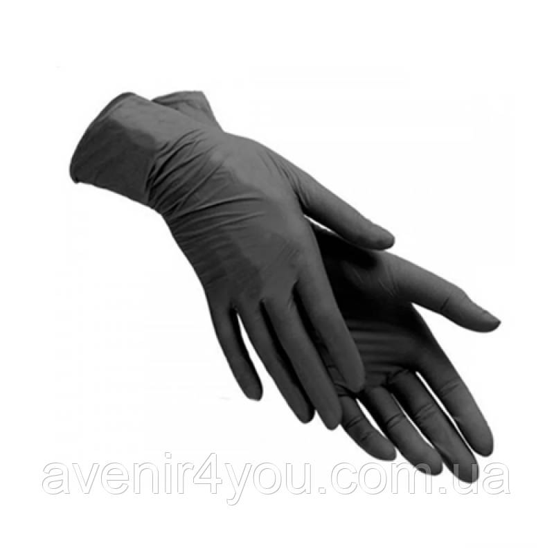 Перчатки (Premium 5,5 г) Черные Нитриловые неопудренные 100 шт Размер S+ в Подарок гель антисептик 200мл