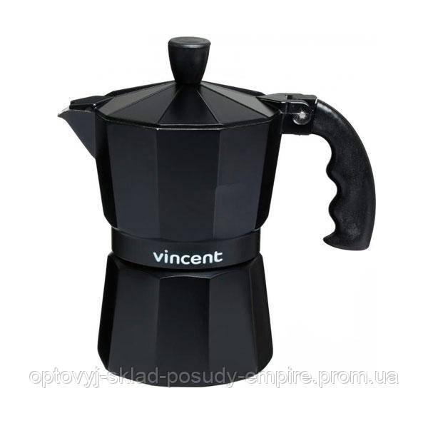 Гейзерная кофеварка на 3 чашки черная Vincent 300 мл (VC-1366-300)