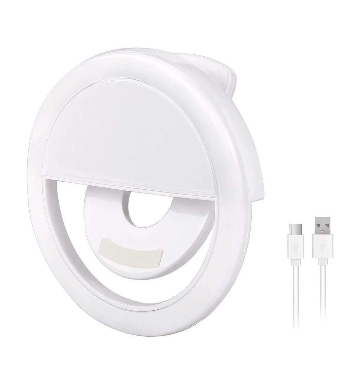 Вспышка-подсветка для телефона селфи-кольцо Selfie Ring Light RK-12 Белый USB