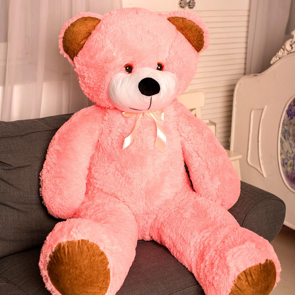 Большой плюшевый медведь Фокси, 130 см, розовый
