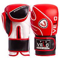 Перчатки боксерские кожаные на липучке VELO красные VL-8188-R