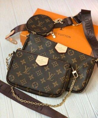 Женская двойная сумка клатч через плечо Louis Vuitton Multi Pochette 3 в 1 LV Луи Виттон
