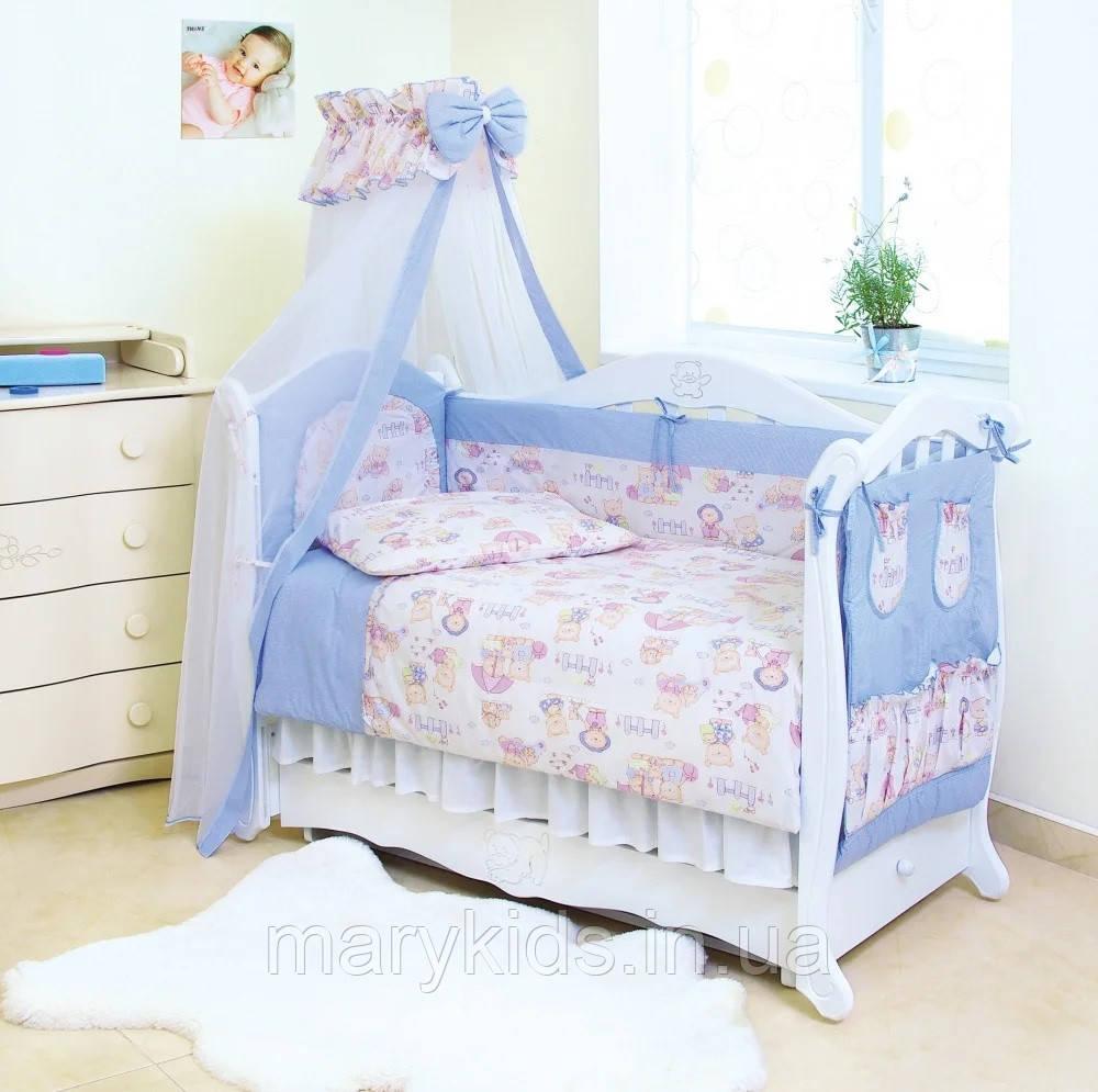 Детская постель Twins Standart Basic 4050-CB-015 Пушистые мишки голубые 8 элементов