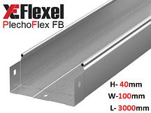 Лоток цельнометаллический, оцинкованный 100x40x3000x0,6 мм Plechoflex FB