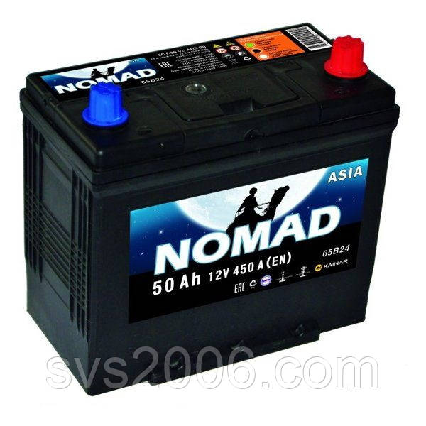 АКБ 6СТ-50 R+ (пт 450)(не обслуж)(азия) NOMAD