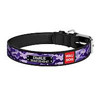 """Ошейник WAUDOG Design """"Фиолетовый Камо"""" 20 мм 29-38 см Черный"""
