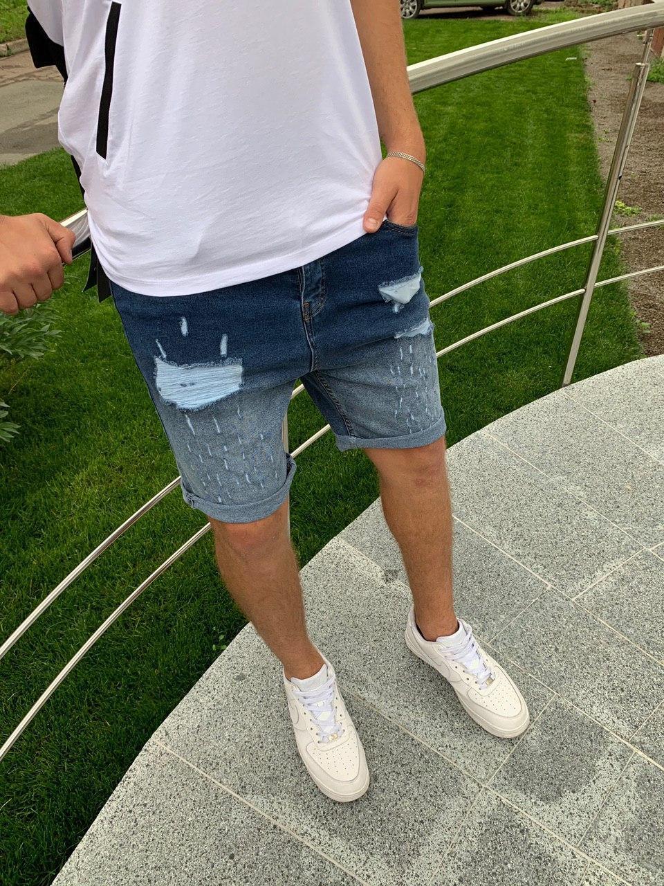 😜 Шорти - Чоловічі джинсові шорти світло-сині бавовна