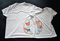 """Парні футболки ручного розпису """"Щасливі лисички"""""""