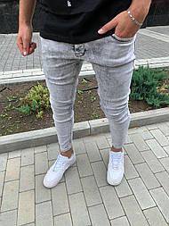 Джинсы - мужские серые джинсы зауженные коттон