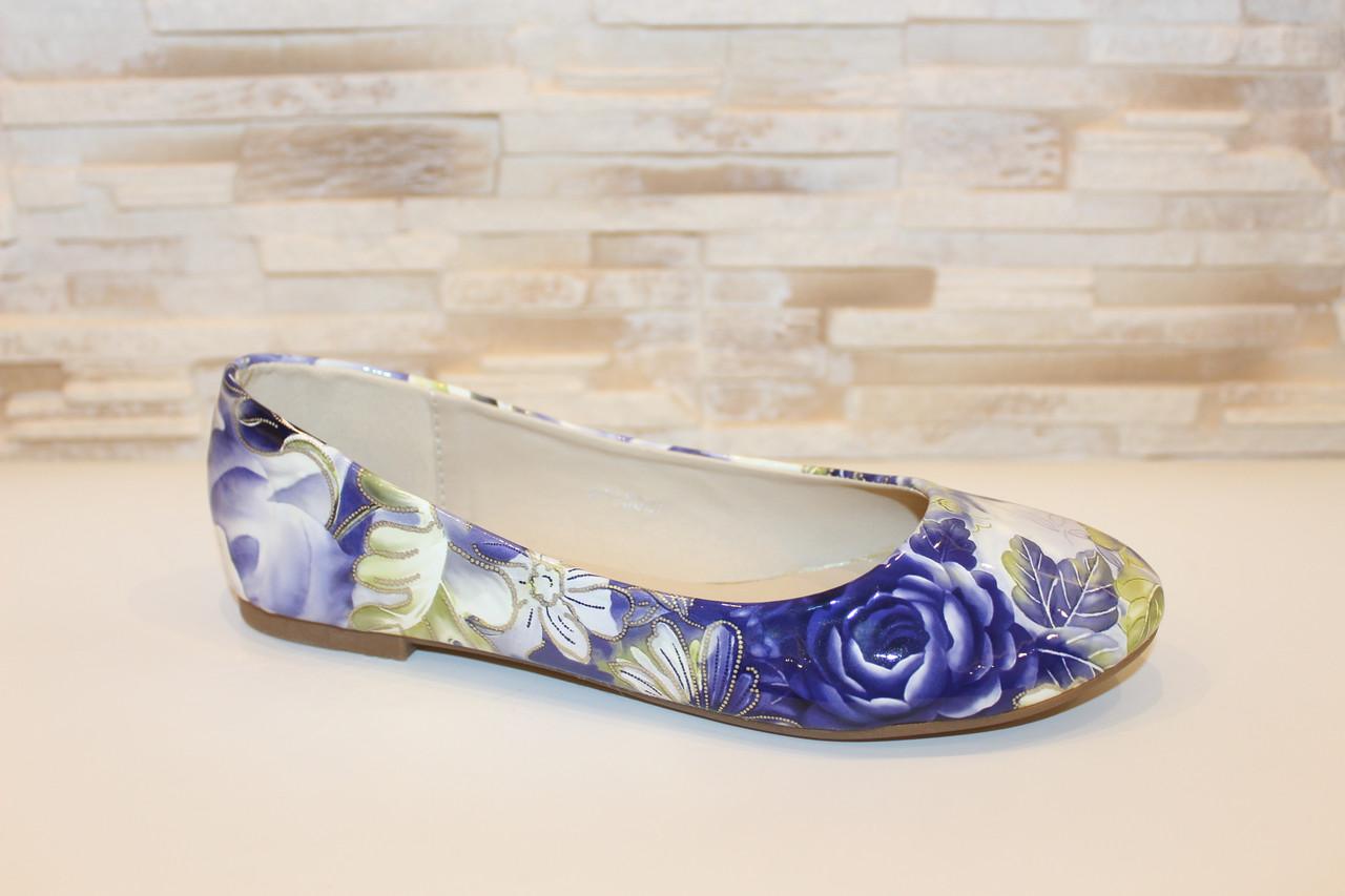 Балетки туфли женские синие цветы Т1096