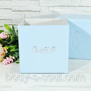 Флористическая квадратная коробка цвет голубой