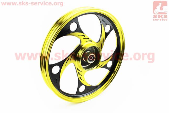 """Диск задний литой 1,6-17"""" ALPHA/ACTIVE """"волна"""", черный/желтый (ось 12мм), фото 2"""