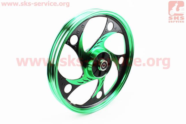 """Диск задний литой 1,6-17"""" ALPHA/ACTIVE """"волна"""", черный/зеленый (ось 12мм), фото 2"""