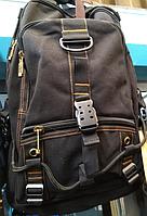 Рюкзак тканевый черный на одной застежке