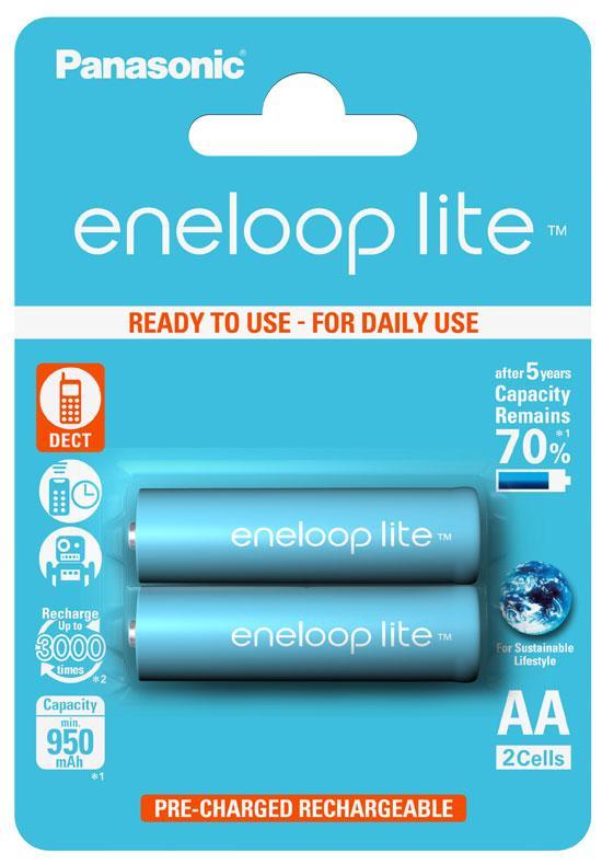 Аккумулятор Panasonic Eneloop Lite BK-3LCCE/2BE, AA/(L)R6, 950mAh, LSD Ni-MH, блистер 2шт