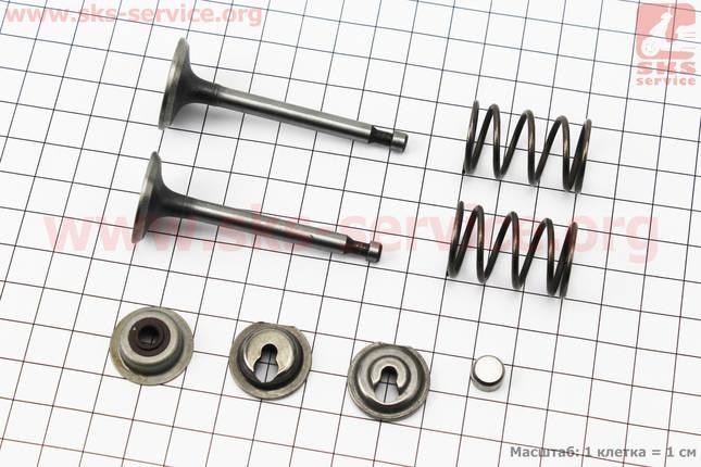 Клапан впускной, выпускной к-кт 2шт 168F + пружина-2шт, + компенсатор клапана-1шт, + тарелка клапана-2шт, +, фото 2