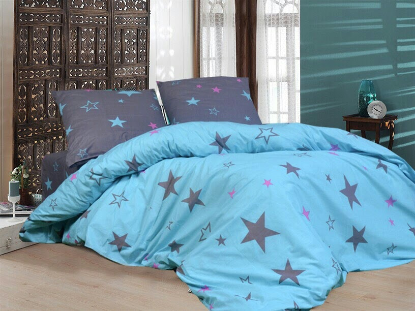 Комплект красивого постельного белья полуторка, звезды на голубом