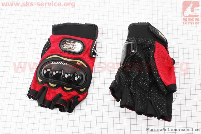 Перчатки мотоциклетные без пальцев XL-красные, фото 2