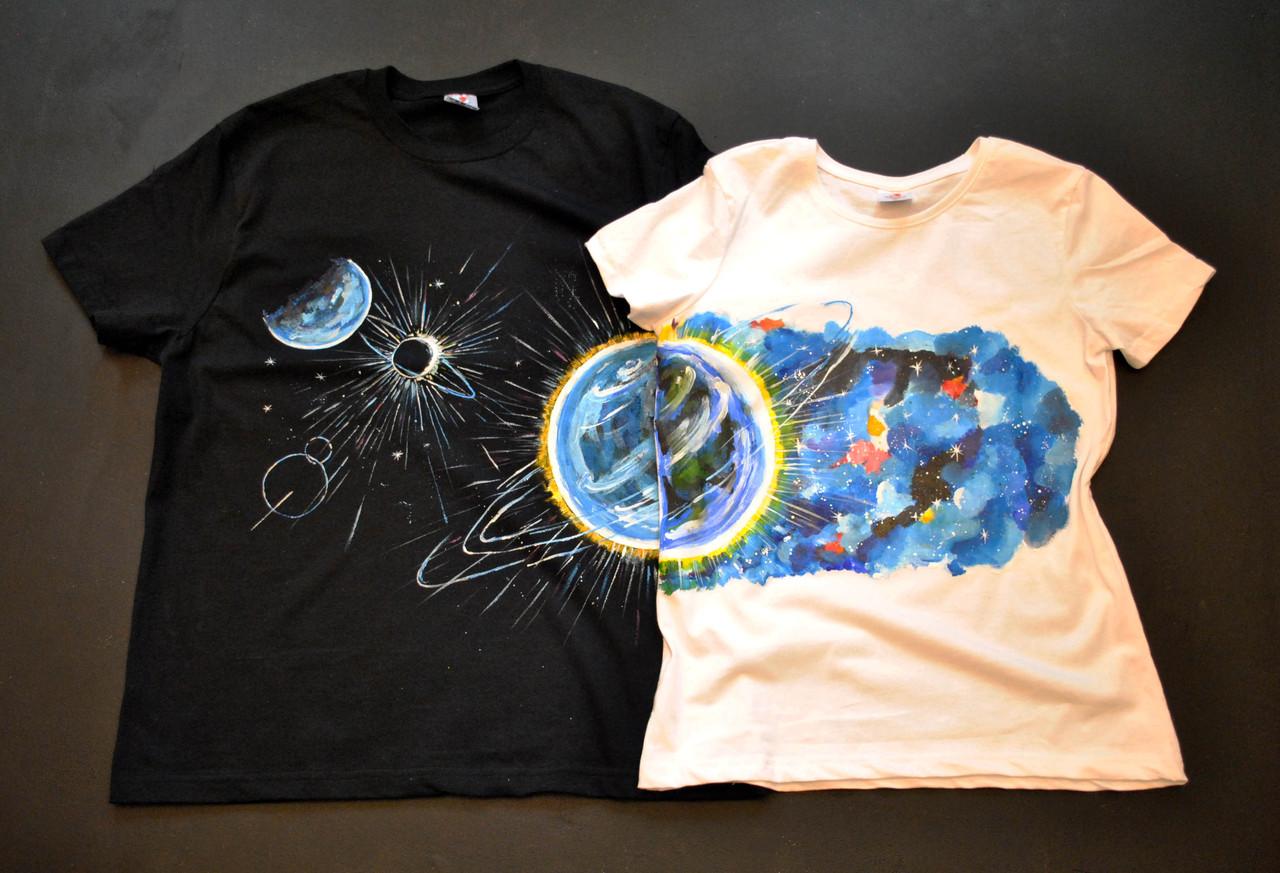 """Парні футболки ручного розпису """"Планети"""""""