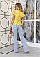 Яркая желтая  блузка на запах с широким рюшем оборкой из хлопка, фото 3