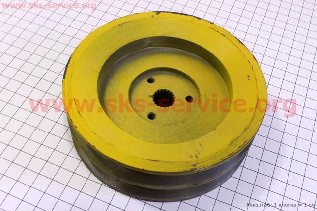 Шкив ведомый D=125мм под шлиц Z=19 (два паза под ремень SPB), фото 2