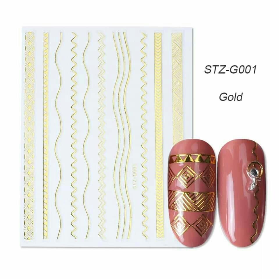 Гибкая 3D наклейка для ногтей (маникюра) STZ-G001 золото