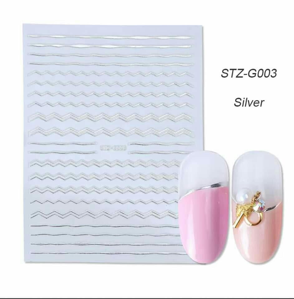 Гнучка 3D наклейка для нігтів (манікюру) STZ-G003 срібло