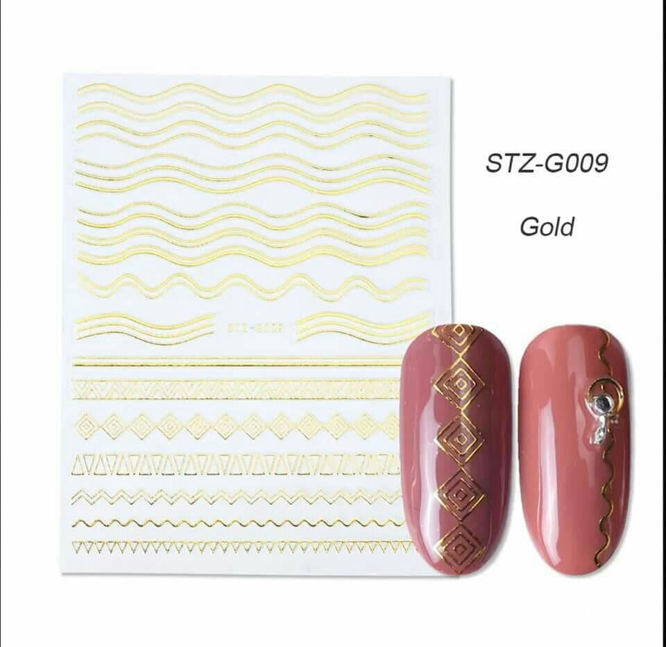 Гибкая 3D наклейка для ногтей (маникюра) STZ-G009 золото