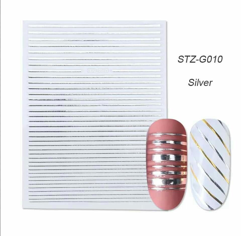 Гибкая 3D наклейка для ногтей (маникюра) STZ-G010 серебро