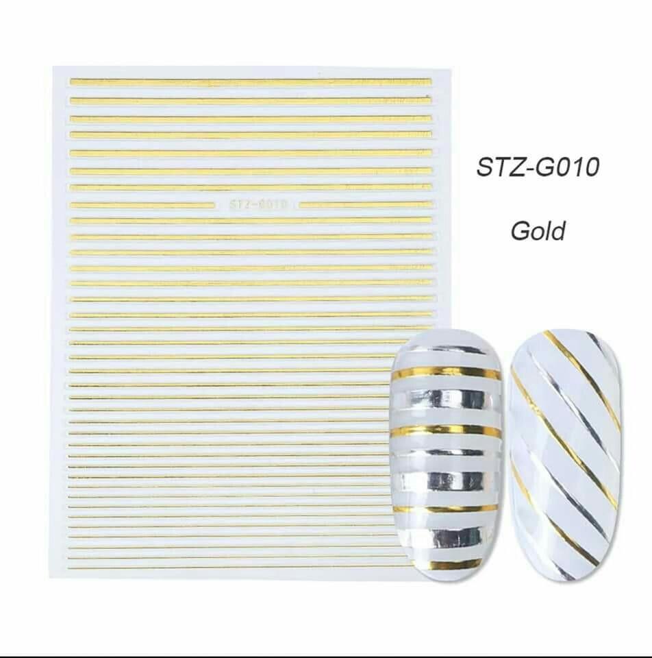 Гибкая 3D наклейка для ногтей (маникюра) STZ-G010 золото