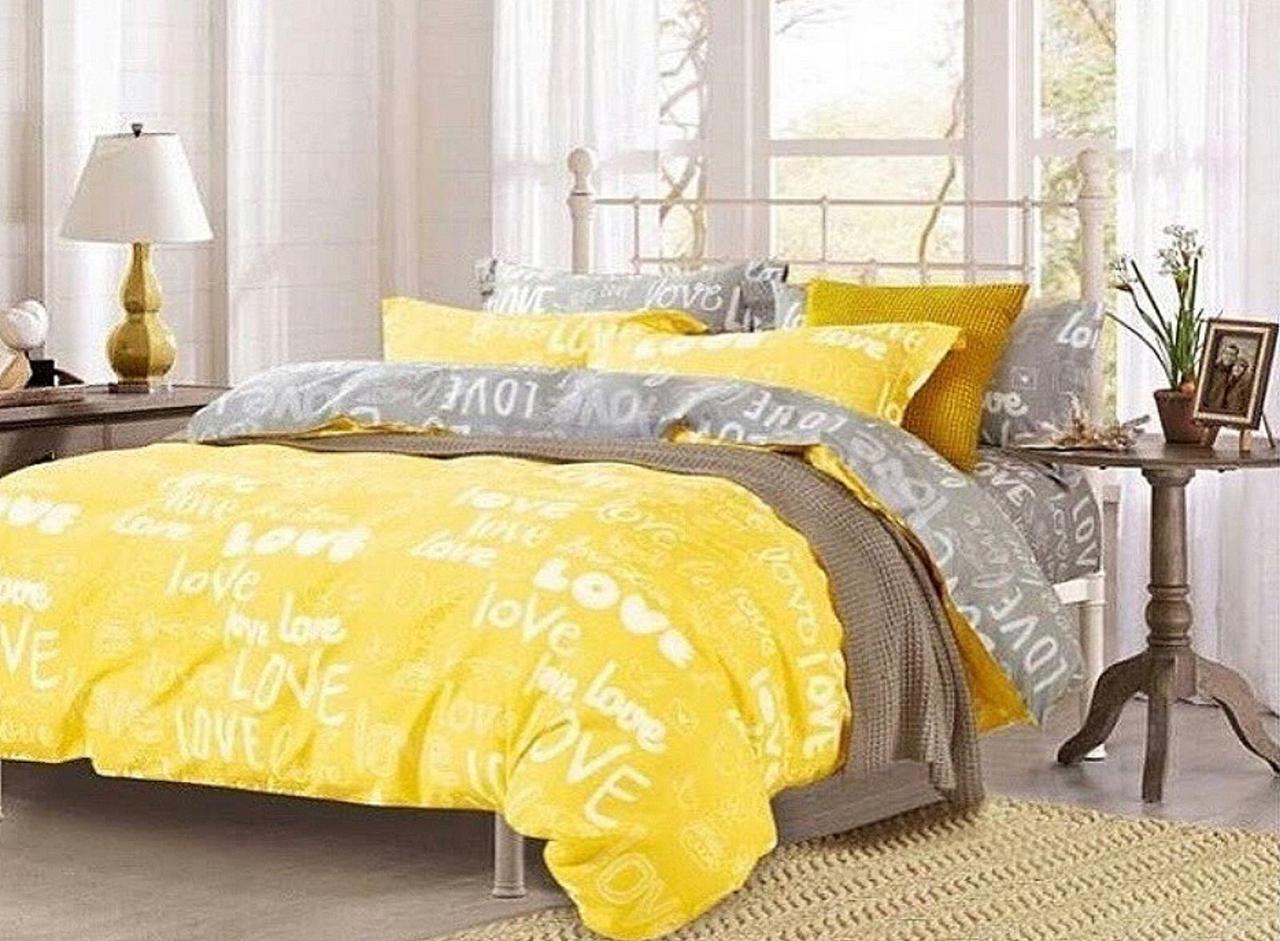 Комплект постельного белья полуторный Бязь GOLD 100% хлопок Любовь Желтый