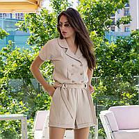 """Комбінезон жіночий короткий бежевий з шортами """"Енні"""", фото 1"""