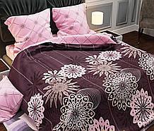 Комплект постільної білизни двосторонній Бязь GOLD 100% бавовна Квіти Рожево - фіолетового кольору