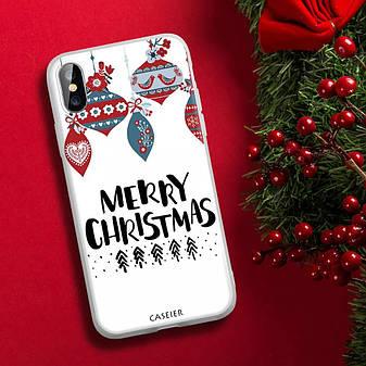 Силиконовый чехол для Apple iPhone 7 / iPhone 8 с принтом Merry Christmas, фото 2
