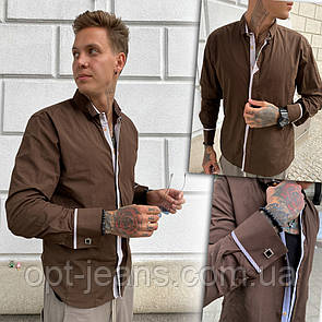 2978-1 Afish рубашка мужская коричневая (S-2XL, 5 ед.)