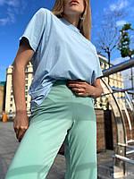 Футболка женская базовая из хлопка голубая с коротким рукавом S