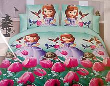 Комплект постільної білизни для дівчинки Бязь GOLD 100% бавовна Софія тюльпани Салатового кольору