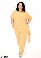 Женский летний брючный костюм песочный, большого размера ,58,60,62