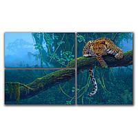 Модульная картина на стену в гостиную 3 в 1 IdeaX Леопард на дереве, 66х38 см