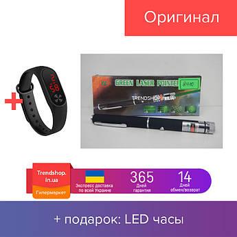 Лазерна указка Green Laser Pointer 8410 від батарейок ААА, 532нм, промінь до 10км, довжина 16см, чорний