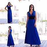 Нарядное платье макси с широким поясом на резинке,выгодно подчеркнет талию,5цвета,  р-р.42-46 код 191Д, фото 4
