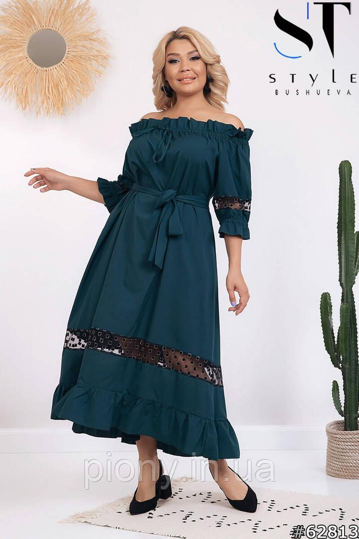 Женское Платье cо вставками Батал