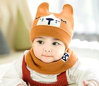 Набір демісезонний шапка шарф хомут набор для мальчика коричневий